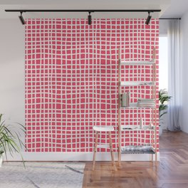 sun kissed coral random cross hatch lines checker pattern Wall Mural