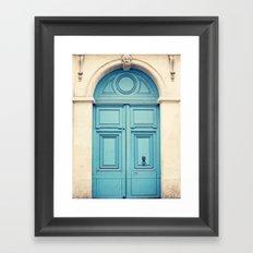 Paris door, pastel blue Framed Art Print