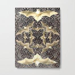 Art Deco White Bats Metal Print