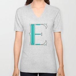Drop Cap E - decorative letter - typography - monogram - capital Unisex V-Neck