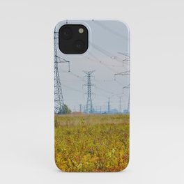 Landscape with power lines iPhone Case