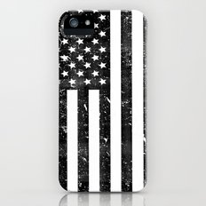 Dirty Vintage Black and White American Flag iPhone (5, 5s) Slim Case