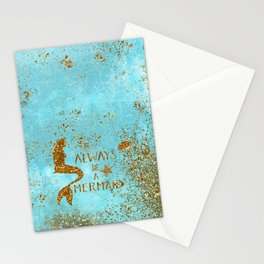 ALWAYS BE A MERMAID-Gold Faux Glitter Mermaid Saying Stationery Cards