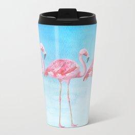 Flamingo Bird Summer Lagune - Watercolor Illustration Travel Mug
