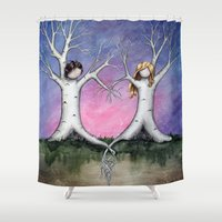 tangled Shower Curtains featuring Tangled by Marcia Furman