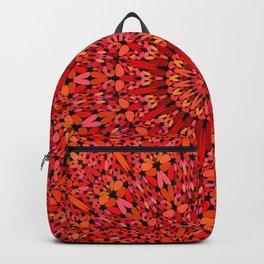 Red Geometric Bloom Mandala Backpack