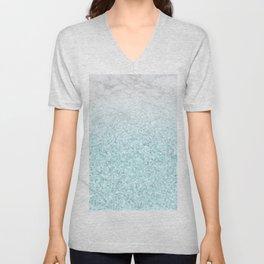 She Sparkles - Turquoise Sea Glitter Marble Unisex V-Neck