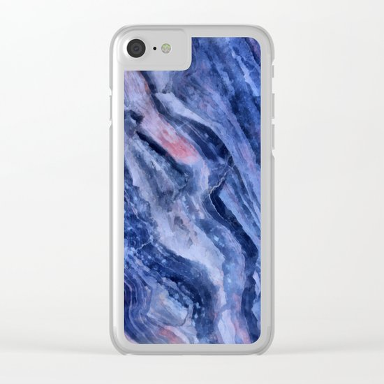 Blue watercolor marble Clear iPhone Case