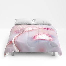 Pink Dreamy Rose Blush Agate Comforters