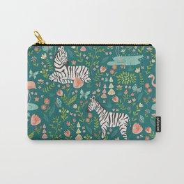 Wild Zebras in Green Garden Carry-All Pouch