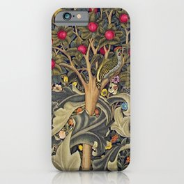 William Morris Woodpecker, Fruit Tree & Poppy Flower Garden Tapestry Textile Floral Print iPhone Case