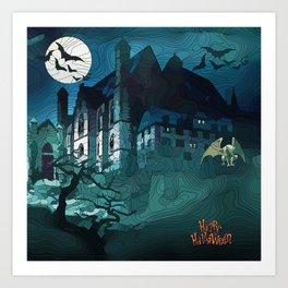 Halloween Abstract old Castle Art Print