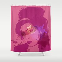 amy hamilton Shower Curtains featuring Amy by BIG Colours