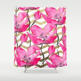 Modern neon pink floral watercolor black pattern gold chevron pattern Shower Curtain