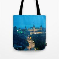 ukraine Tote Bags featuring Kamianets-Podilskyi Castle (Ukraine) by Limitless Design