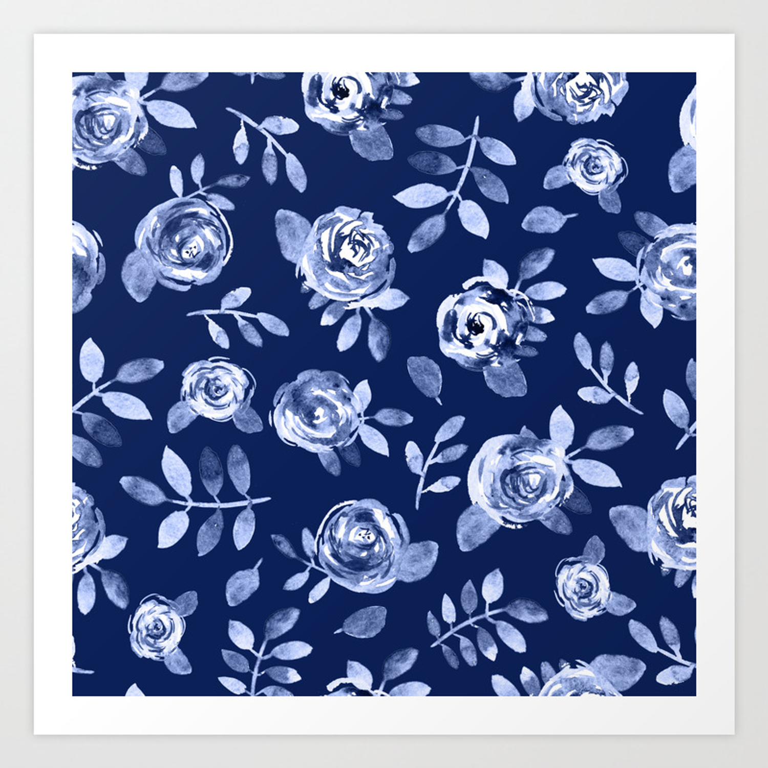 Hand Painted Navy Blue White Watercolor Floral Roses Pattern Art