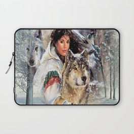 Mountain Woman With Wolfs Laptop Sleeve