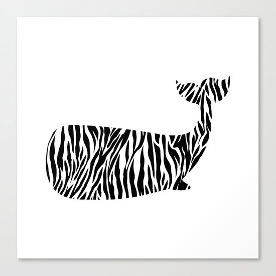 Whale with zebra print Canvas Print