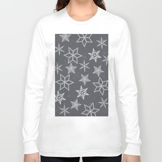 Snowflakes on grey background Long Sleeve T-shirt