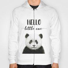 Panda Art Print Baby Animals Hello Little One Nursery Decor Hoody