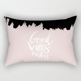 Modern abstract black blush pink brushstrokes typography Rectangular Pillow