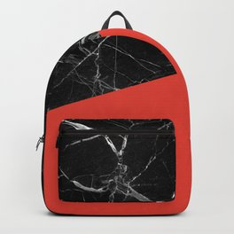 Black Marble with Cherry Tomato Color Backpack