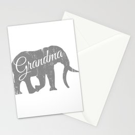 "A Family Tee For Grandmas Saying ""Grandma"" T-shirt Design Elephant Animal Lovers Trunk Ancestor Stationery Cards"