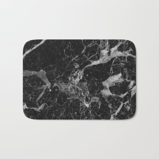 Black and Gray Marble Pattern Bath Mat