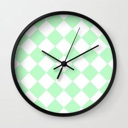 Large Diamonds - White and Mint Green Wall Clock