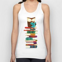 rainbow Tank Tops featuring Owl Reading Rainbow by Picomodi