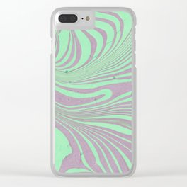 Violet mint green abstract watercolor marble Clear iPhone Case