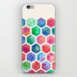 Hand Painted Watercolor Honeycomb Pattern iPhone Skin