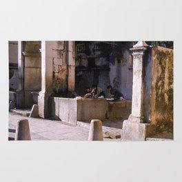 Vintage Color Photo * La Turbia * Italy * 1950's * Women washing clothes * Kodachrome * 1940's Rug