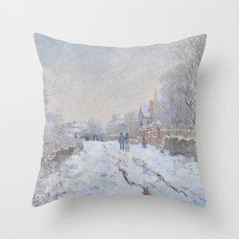 Snow Scene at Argenteuil Throw Pillow