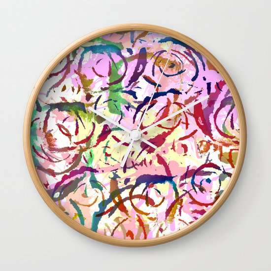 abstract roses silhouettes Wall Clock