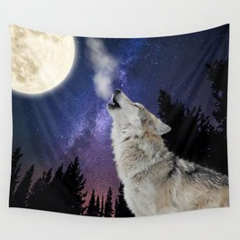 Howling At The Moon / Wolf Wall Tapestry