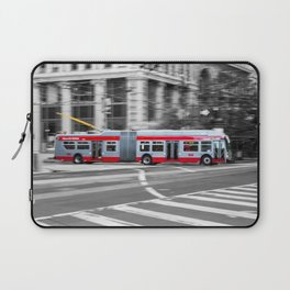 San Francisco Trolley Bus - BW background Laptop Sleeve
