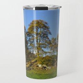 Autumnal trees in Grasmere. Lake Distirct, UK. Travel Mug
