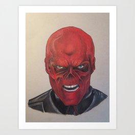 Red scull Art Print
