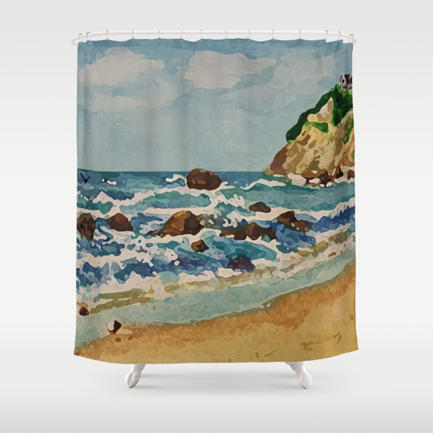 Block Island Beach Scene Shower Curtain