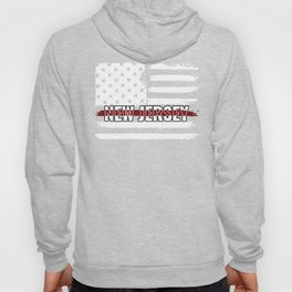 New Jersey Firefighter Gift for Texas Firemen and Firefighters Thin Red Line Hoody