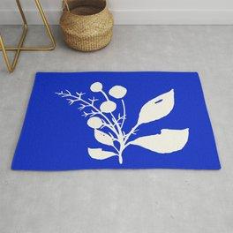 Minimal Wildflowers On Cobalt Blue Rug