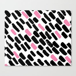 Oblique dots black and white pink Canvas Print