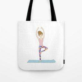 Yoga Girl in Tree Pose illustration Tote Bag