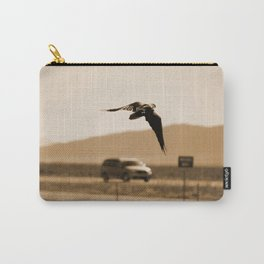 Raven Flying in Sepia Carry-All Pouch
