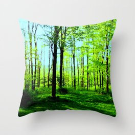 Sky Blue Morning Forest Throw Pillow