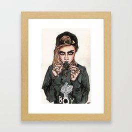 Cara Delevingne x Terry Richardson Framed Art Print