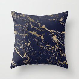 Modern luxury chic navy blue gold marble pattern Throw Pillow