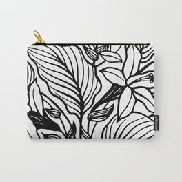 White And Black Floral Minimalist Carry-All Pouch
