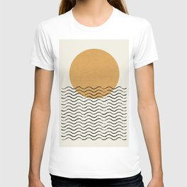 Ocean wave gold sunrise - mid century style T-shirt